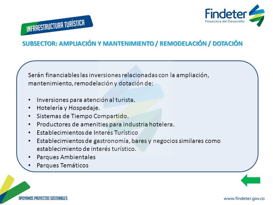 SUBSECTOR: AMPLIACIÓN Y MANTENIMIENTO / REMODELACIÓN / DOTACIÓN