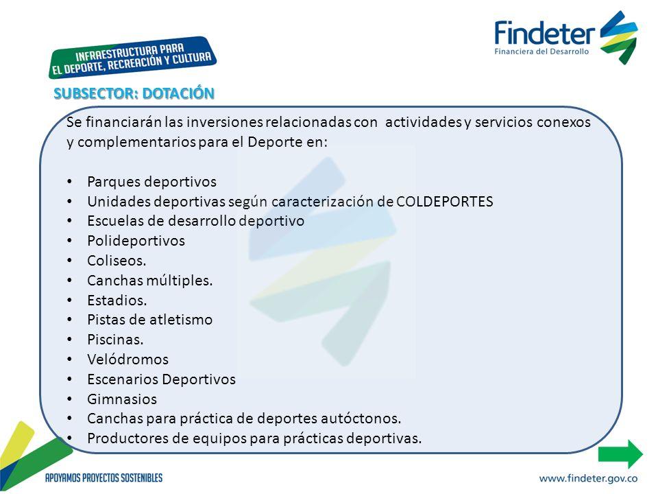 SUBSECTOR: DOTACIÓN Se financiarán las inversiones relacionadas con actividades y servicios conexos y complementarios para el Deporte en: