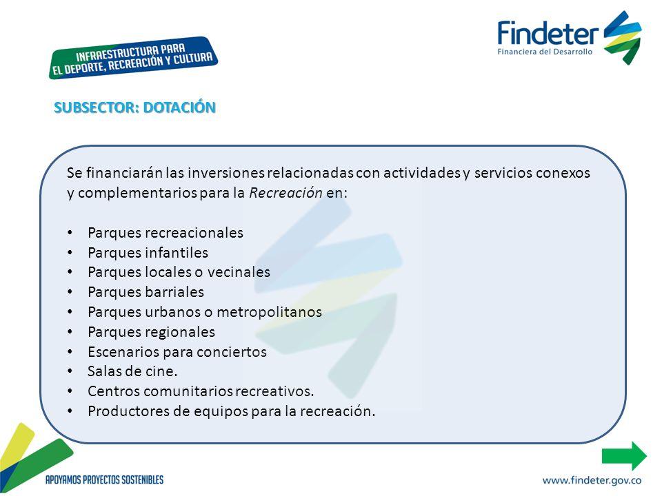 SUBSECTOR: DOTACIÓN Se financiarán las inversiones relacionadas con actividades y servicios conexos y complementarios para la Recreación en:
