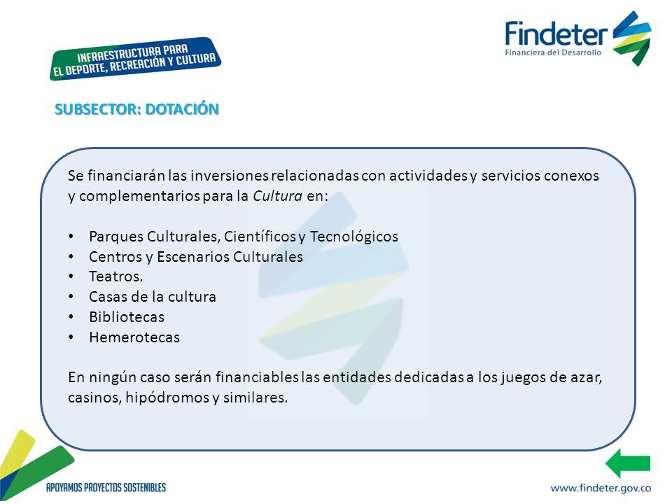 SUBSECTOR: DOTACIÓN Se financiarán las inversiones relacionadas con actividades y servicios conexos y complementarios para la Cultura en:
