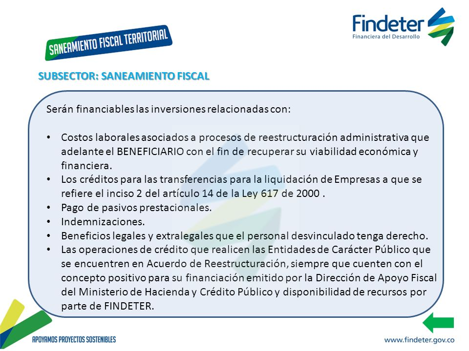 SUBSECTOR: SANEAMIENTO FISCAL
