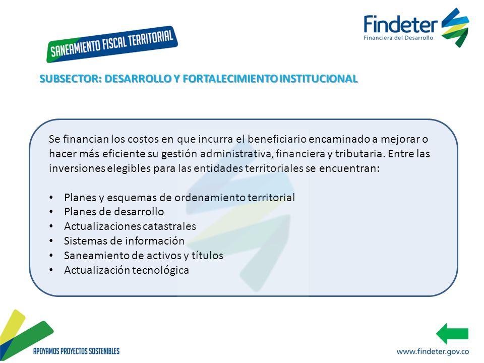 SUBSECTOR: DESARROLLO Y FORTALECIMIENTO INSTITUCIONAL