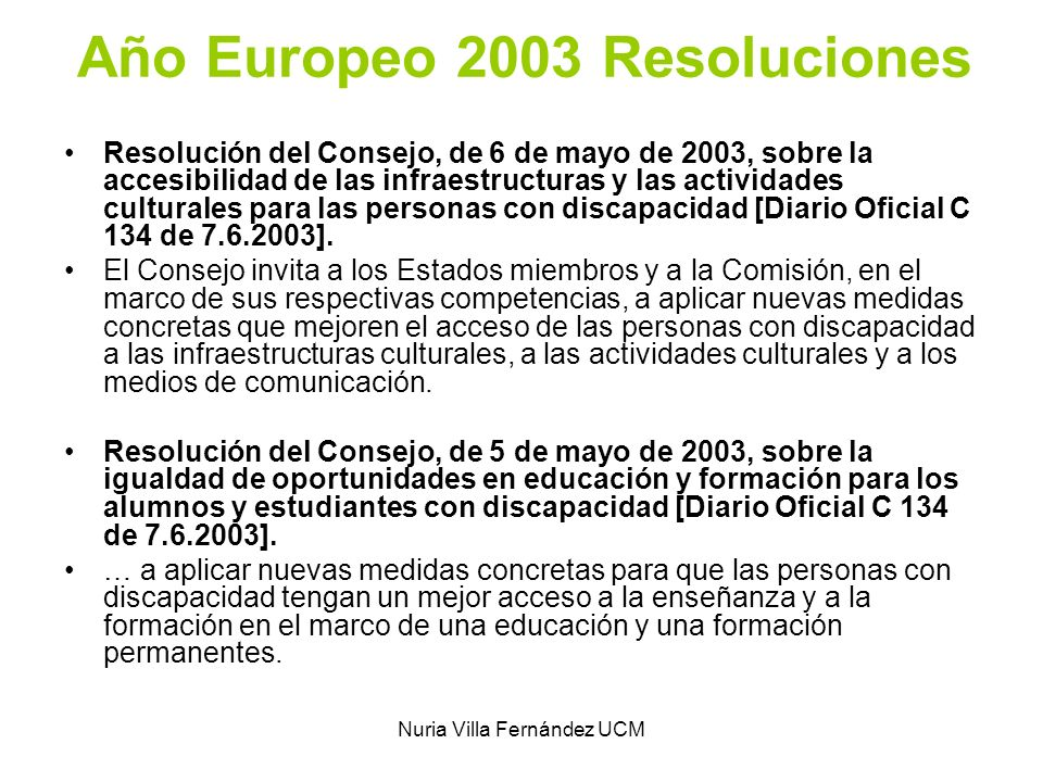 Año Europeo 2003 Resoluciones