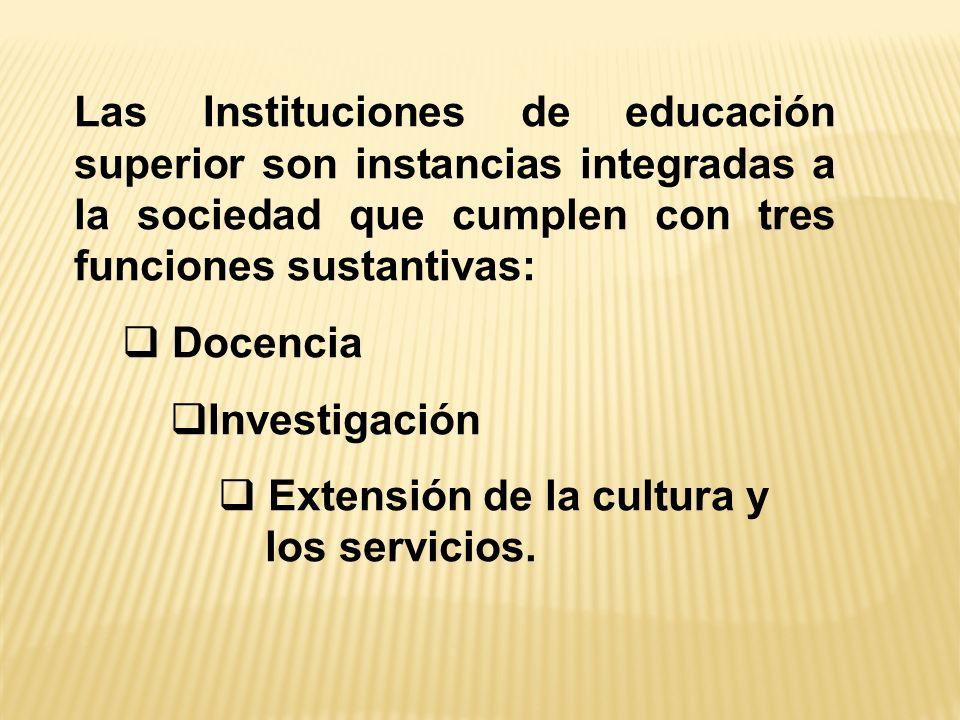 Las Instituciones de educación superior son instancias integradas a la sociedad que cumplen con tres funciones sustantivas: