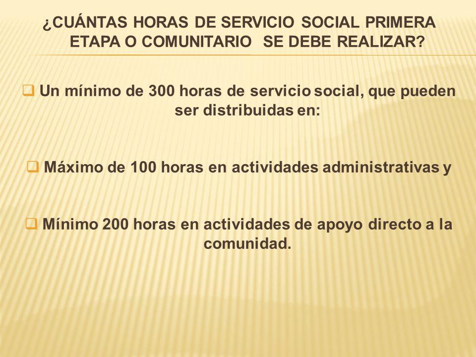 Máximo de 100 horas en actividades administrativas y