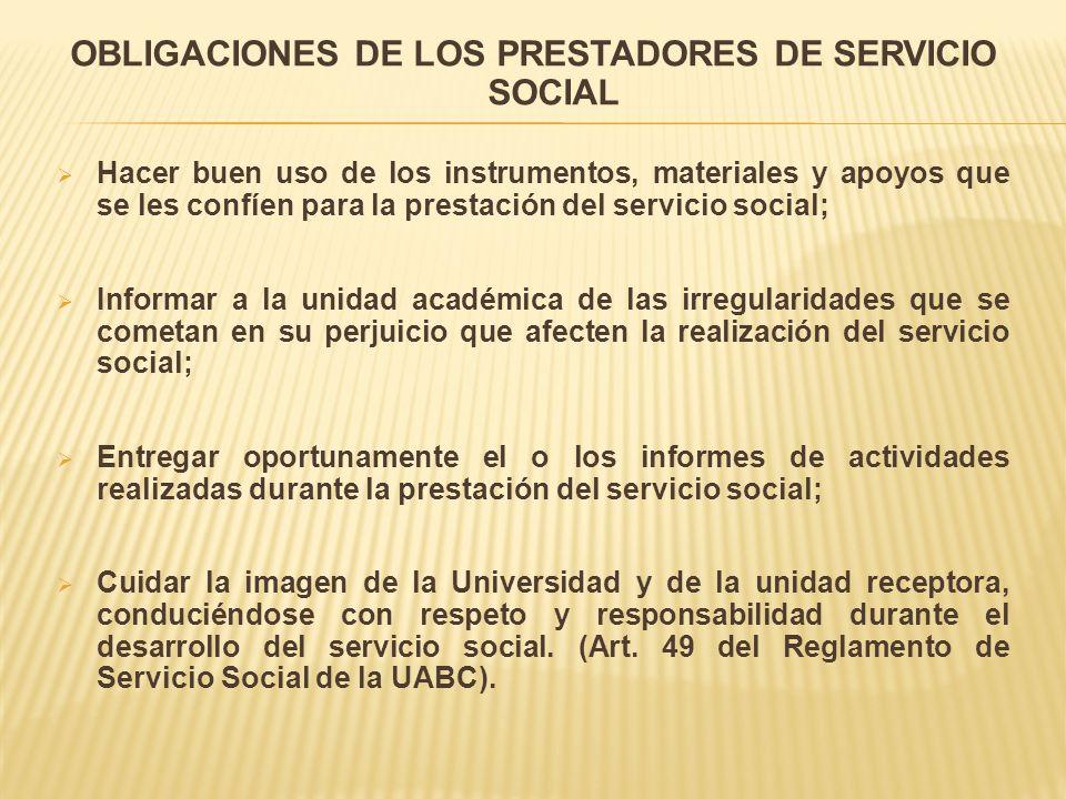 OBLIGACIONES DE LOS PRESTADORES DE SERVICIO SOCIAL