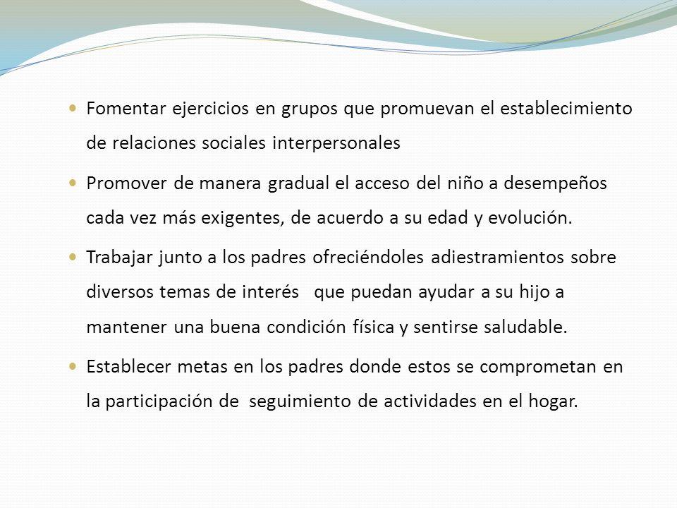Fomentar ejercicios en grupos que promuevan el establecimiento de relaciones sociales interpersonales