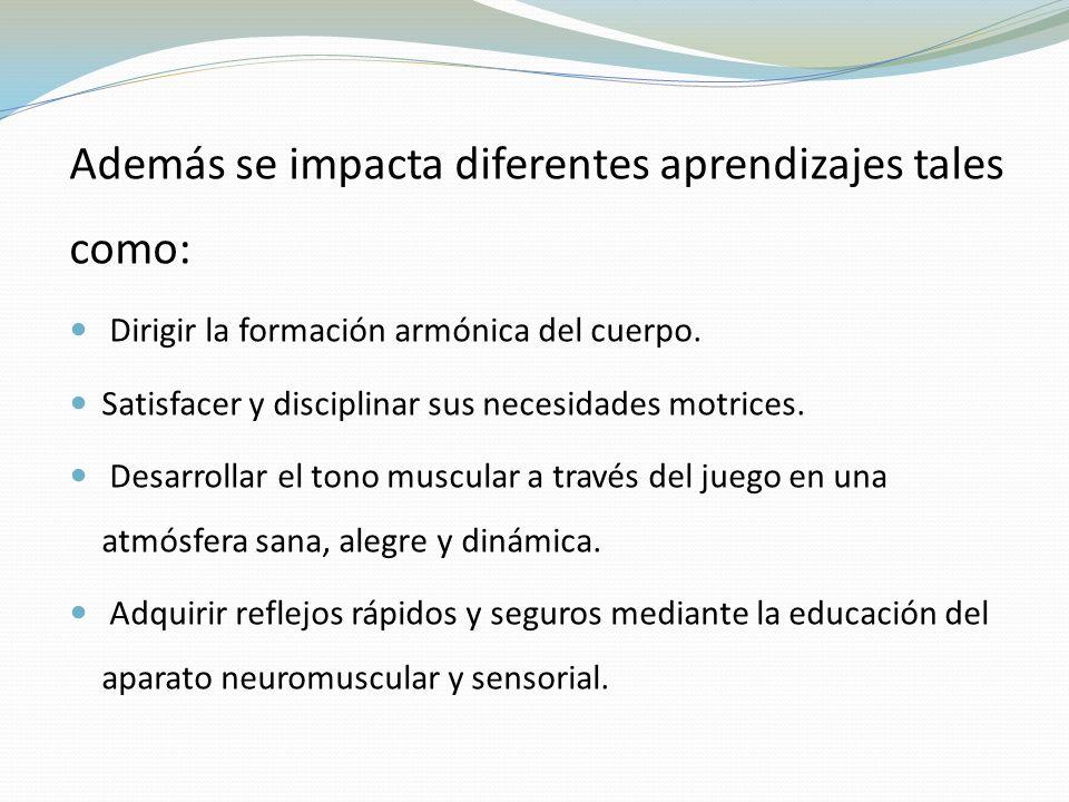 Además se impacta diferentes aprendizajes tales como:
