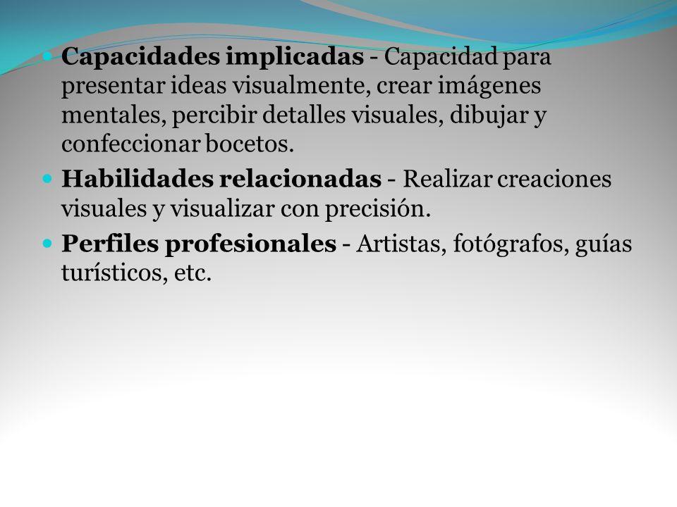 Capacidades implicadas - Capacidad para presentar ideas visualmente, crear imágenes mentales, percibir detalles visuales, dibujar y confeccionar bocetos.