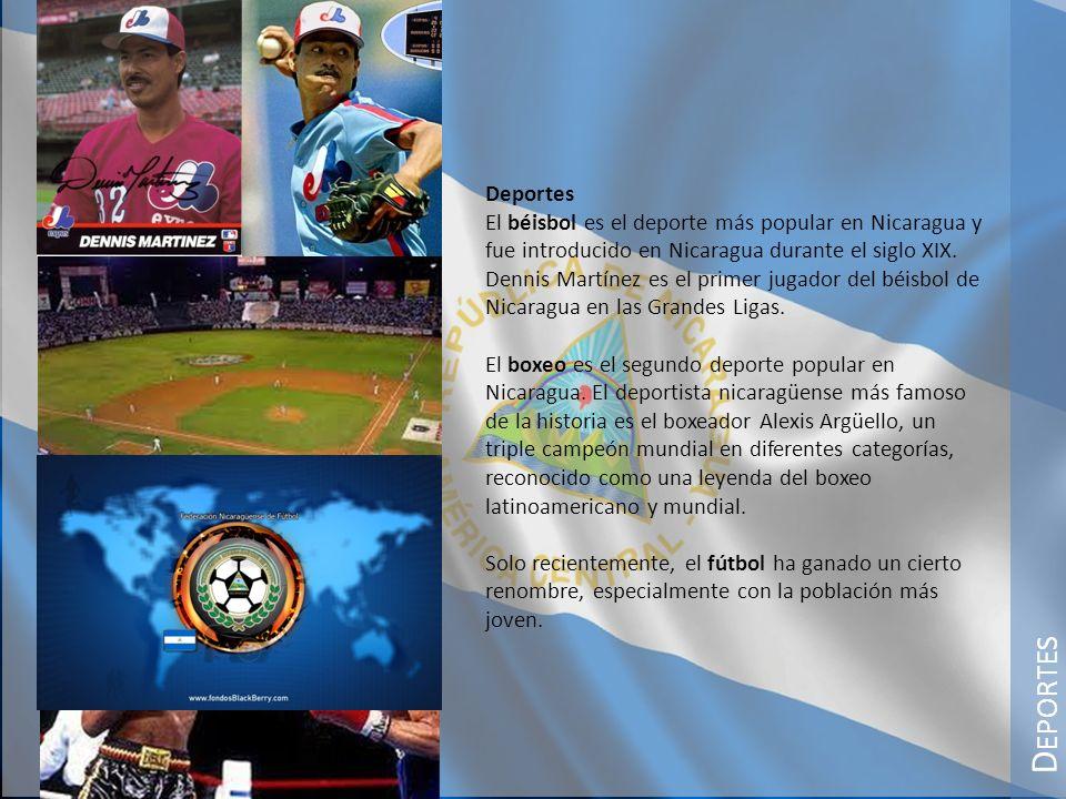 Deportes El béisbol es el deporte más popular en Nicaragua y fue introducido en Nicaragua durante el siglo XIX.