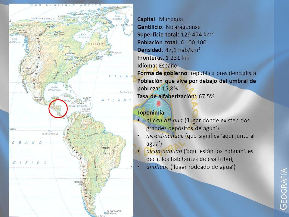 Geografía Capital: Managua Gentilicio: Nicaragüense