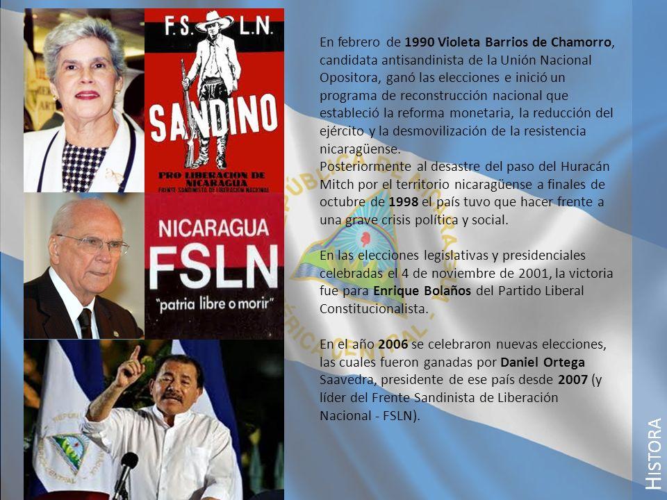 En febrero de 1990 Violeta Barrios de Chamorro, candidata antisandinista de la Unión Nacional Opositora, ganó las elecciones e inició un programa de reconstrucción nacional que estableció la reforma monetaria, la reducción del ejército y la desmovilización de la resistencia nicaragüense.