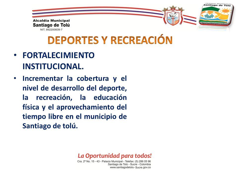 DEPORTES Y RECREACIÓN FORTALECIMIENTO INSTITUCIONAL.