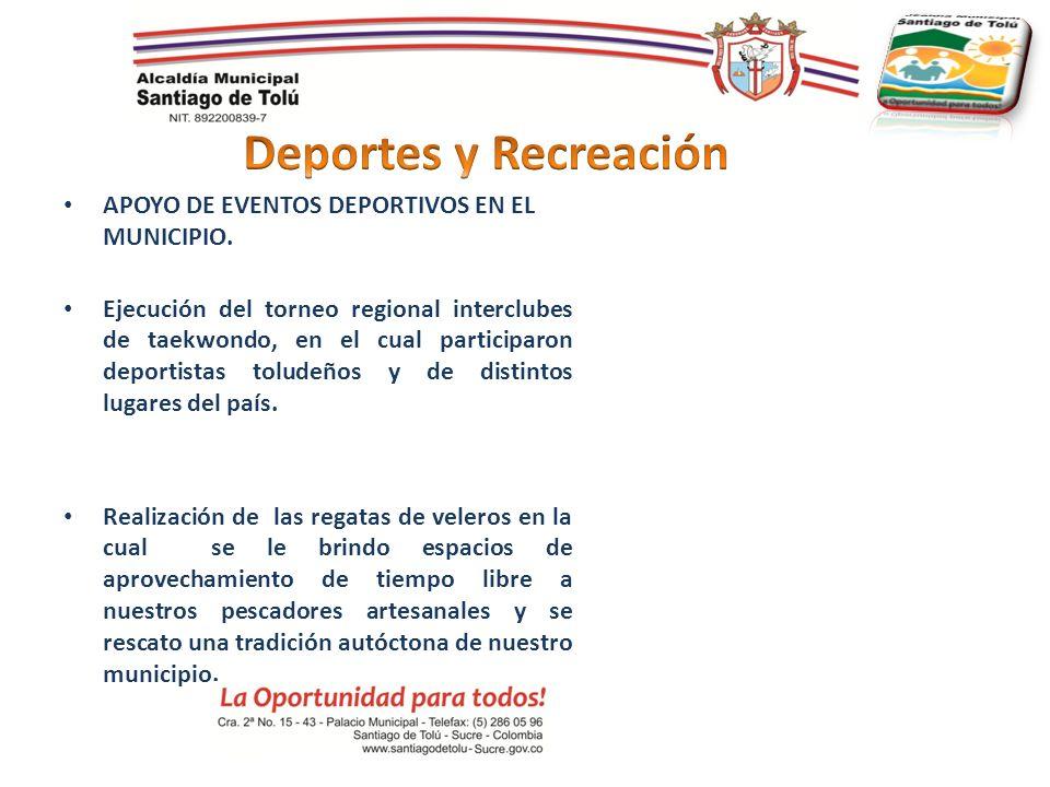 Deportes y Recreación APOYO DE EVENTOS DEPORTIVOS EN EL MUNICIPIO.