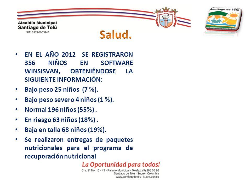 Salud. EN EL AÑO 2012 SE REGISTRARON 356 NIÑOS EN SOFTWARE WINSISVAN, OBTENIÉNDOSE LA SIGUIENTE INFORMACIÓN: