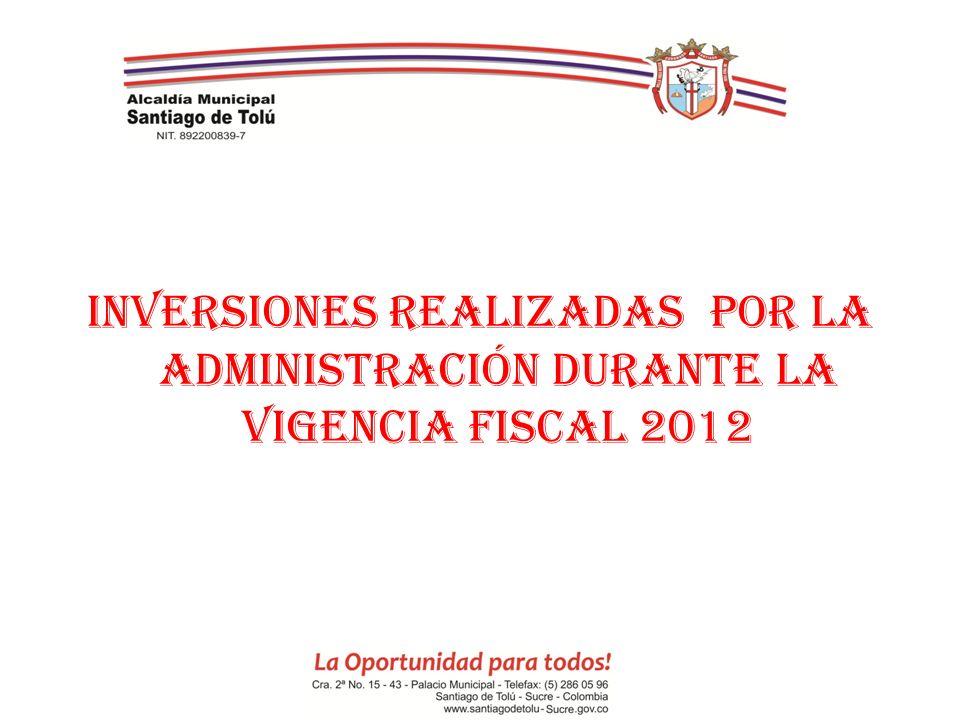 INVERSIONES REALIZADAS POR LA ADMINISTRACIÓN DURANTE LA VIGENCIA FISCAL 2012
