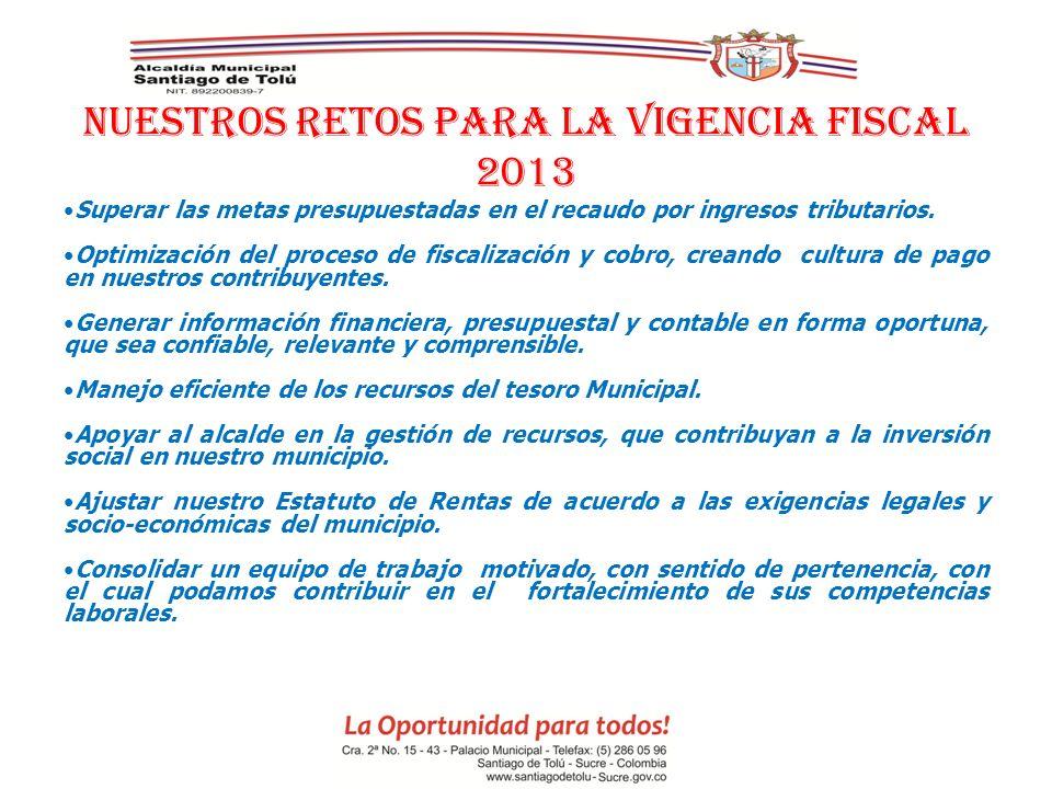 NUESTROS RETOS PARA LA VIGENCIA FISCAL 2013