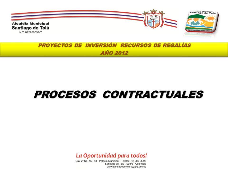 PROYECTOS DE INVERSIÓN RECURSOS DE REGALÍAS PROCESOS CONTRACTUALES
