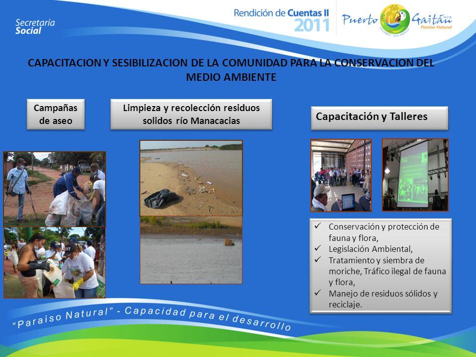 Limpieza y recolección residuos solidos río Manacacias