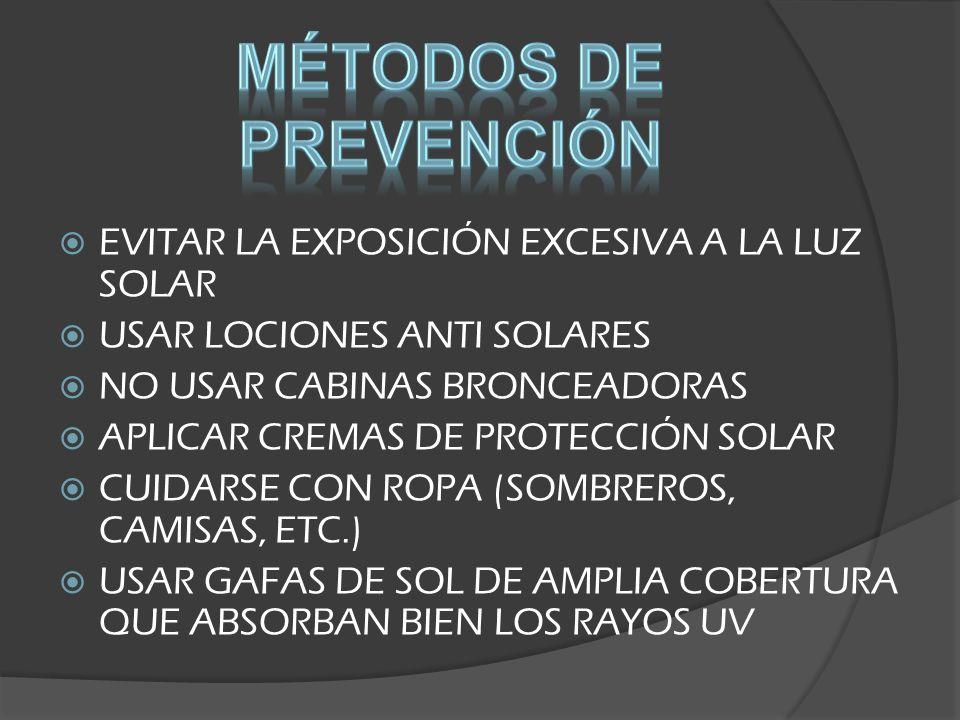 MÉTODOS DE PREVENCIÓN EVITAR LA EXPOSICIÓN EXCESIVA A LA LUZ SOLAR
