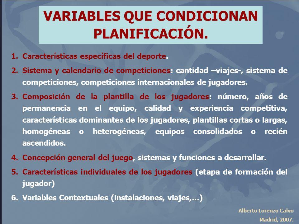 VARIABLES QUE CONDICIONAN PLANIFICACIÓN.