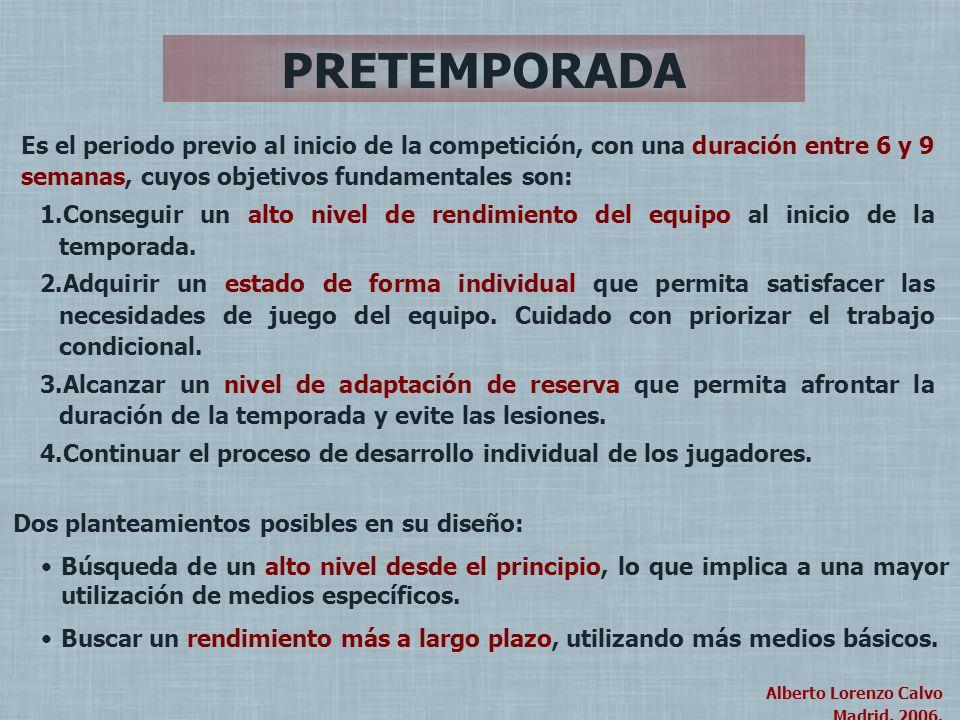 PRETEMPORADA Es el periodo previo al inicio de la competición, con una duración entre 6 y 9 semanas, cuyos objetivos fundamentales son: