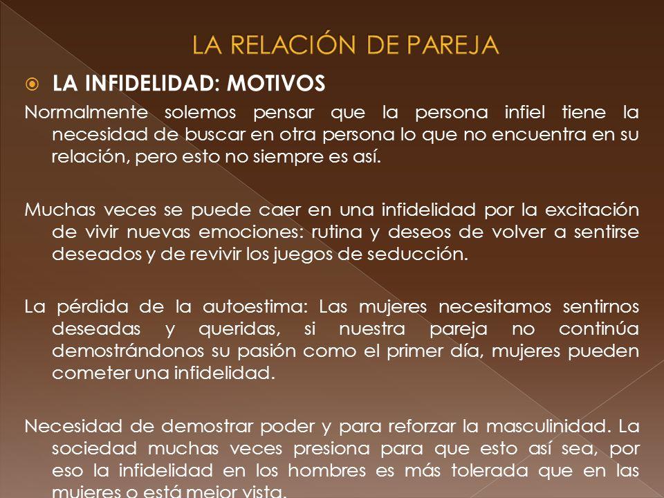 LA RELACIÓN DE PAREJA LA INFIDELIDAD: MOTIVOS