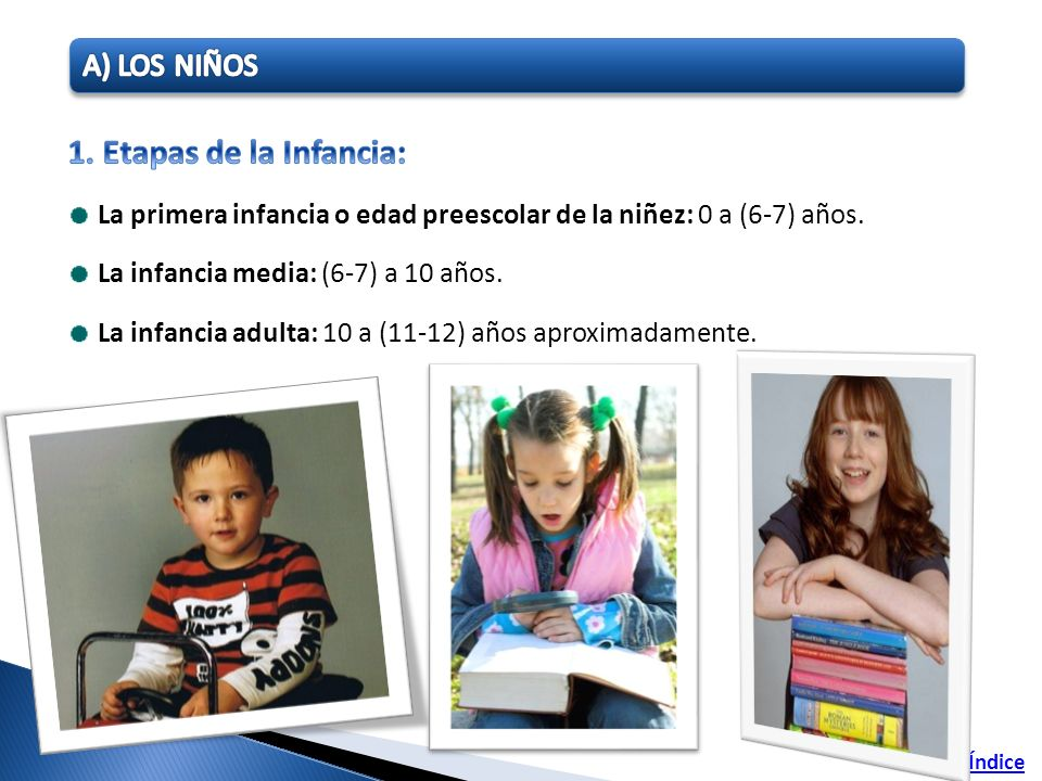 1. Etapas de la Infancia: A) LOS NIÑOS