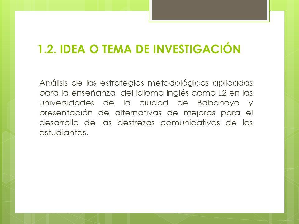 1.2. IDEA O TEMA DE INVESTIGACIÓN