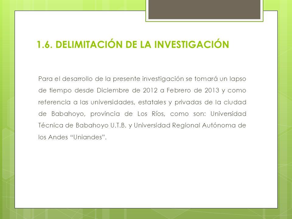 1.6. DELIMITACIÓN DE LA INVESTIGACIÓN