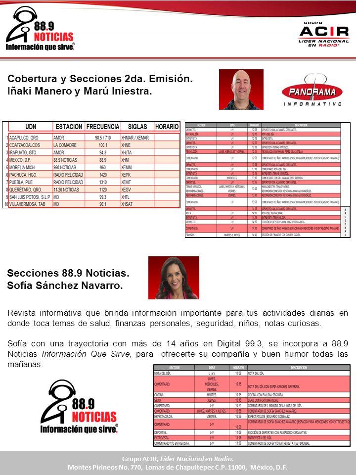 Cobertura y Secciones 2da. Emisión. Iñaki Manero y Marú Iniestra.