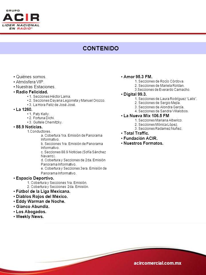 CONTENIDO acircomercial.com.mx Quiénes somos. Atmósfera VIP.