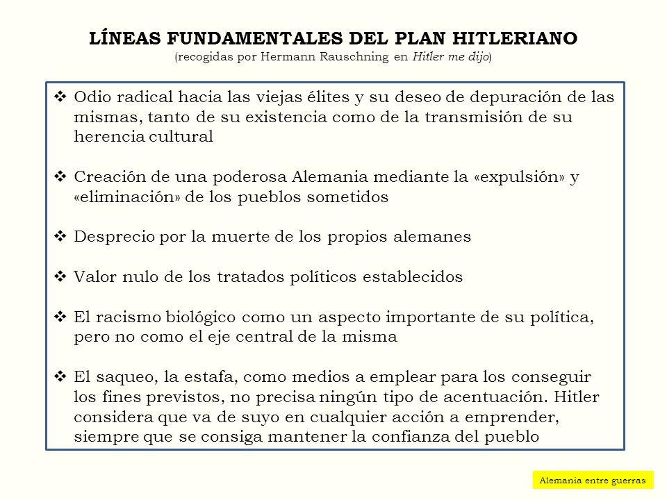 LÍNEAS FUNDAMENTALES DEL PLAN HITLERIANO (recogidas por Hermann Rauschning en Hitler me dijo)