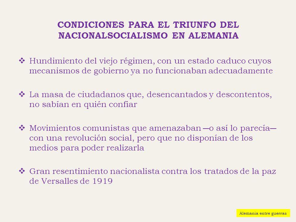 CONDICIONES PARA EL TRIUNFO DEL NACIONALSOCIALISMO EN ALEMANIA