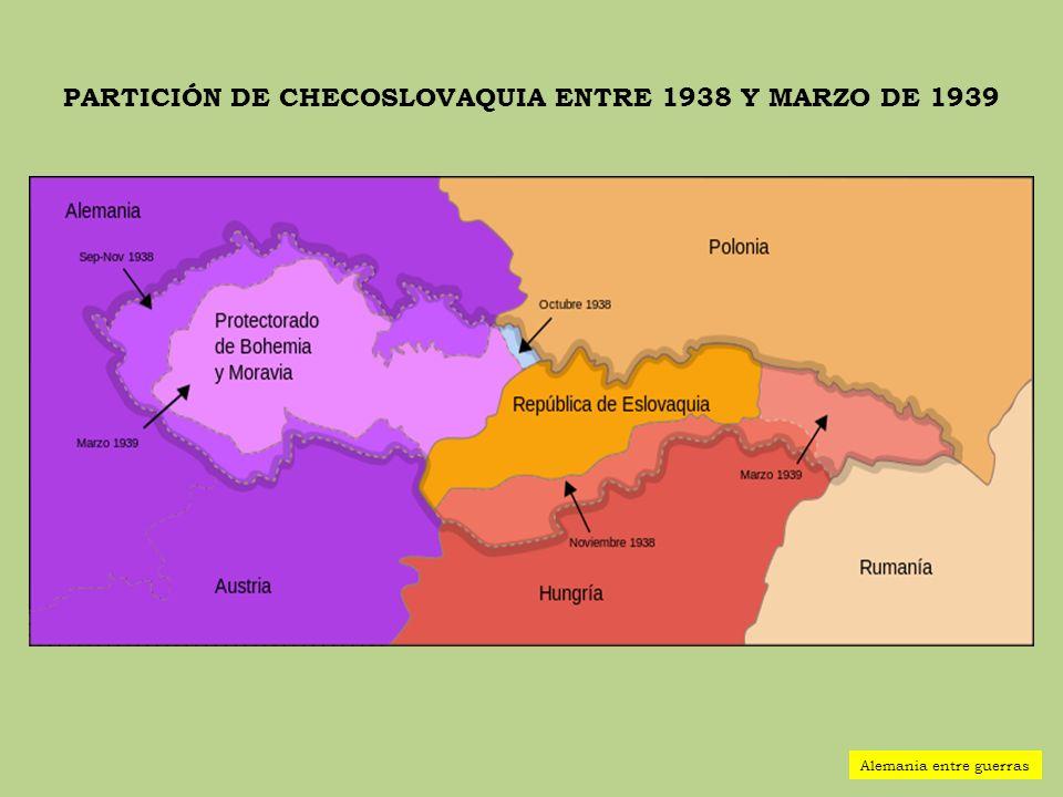 PARTICIÓN DE CHECOSLOVAQUIA ENTRE 1938 Y MARZO DE 1939