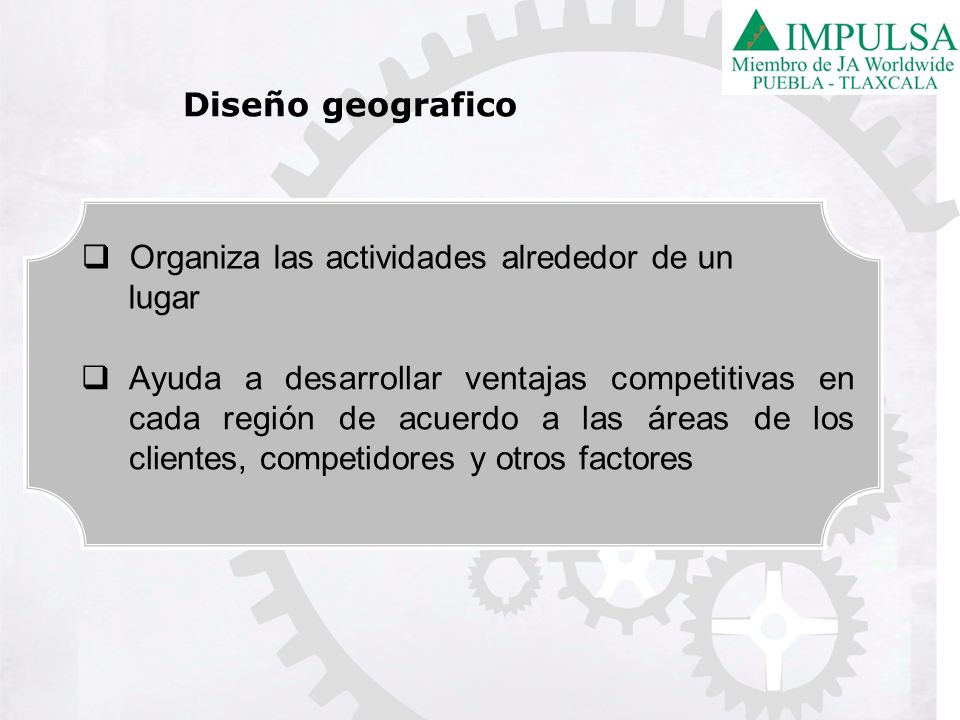 Diseño geografico Organiza las actividades alrededor de un. lugar.