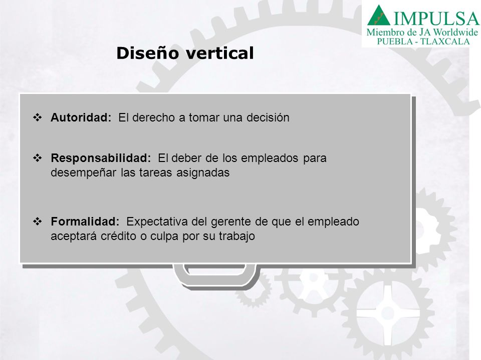 Diseño vertical Autoridad: El derecho a tomar una decisión