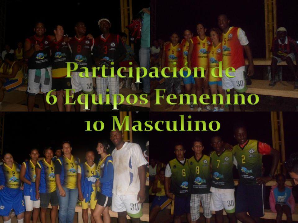 Participación de 6 Equipos Femenino 10 Masculino