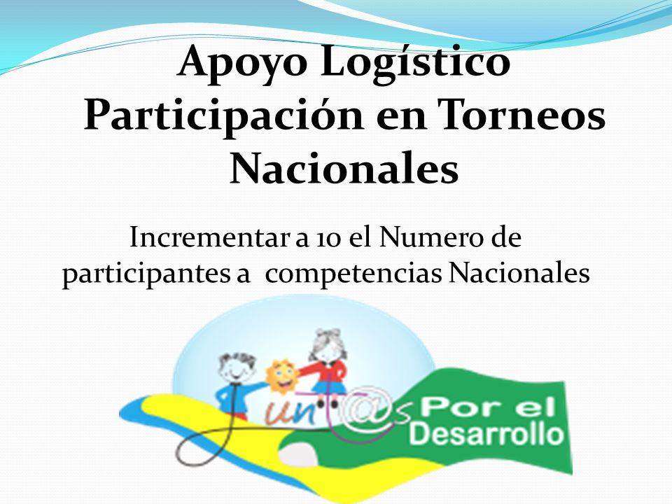 Apoyo Logístico Participación en Torneos Nacionales