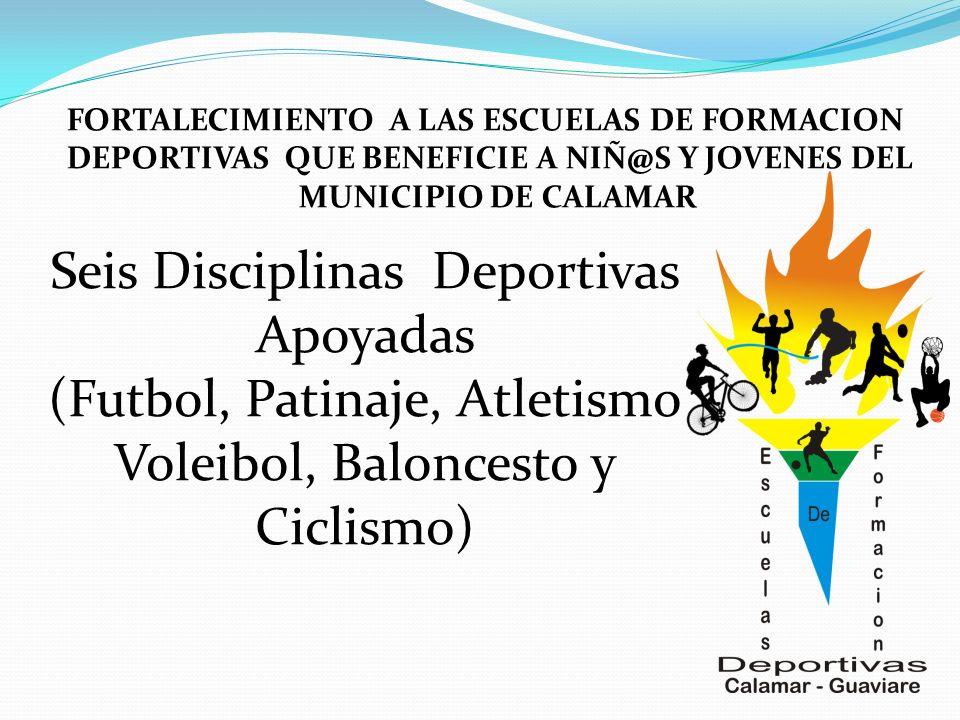 Seis Disciplinas Deportivas Apoyadas (Futbol, Patinaje, Atletismo