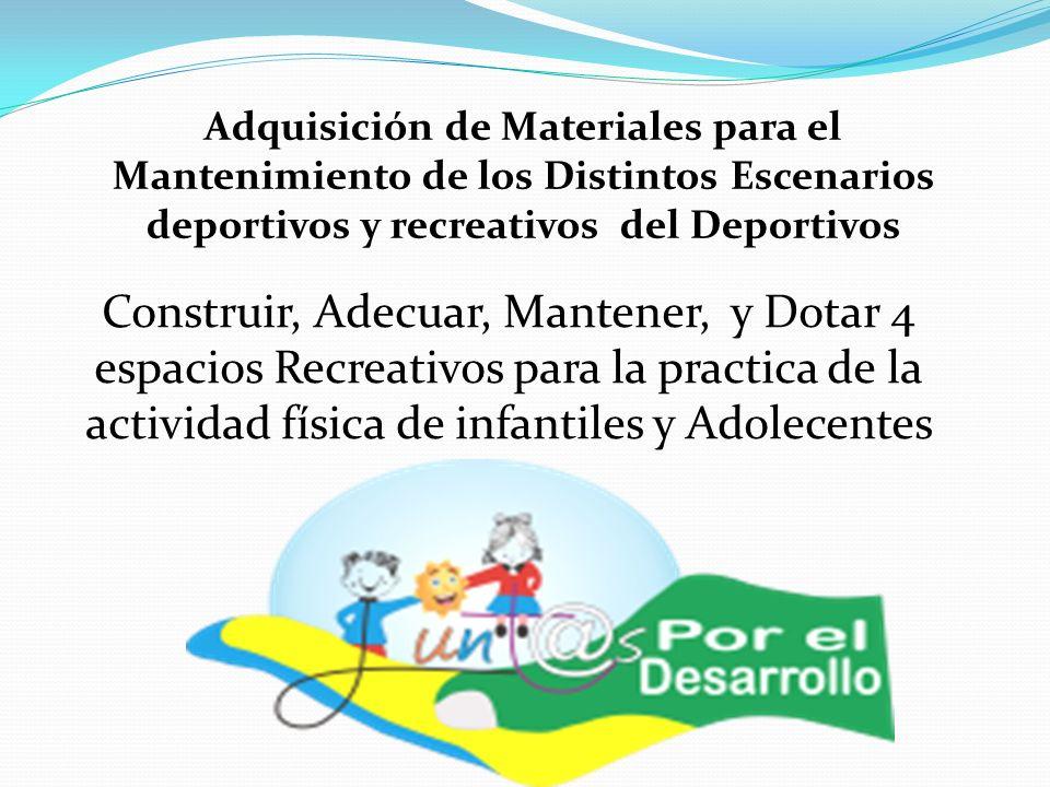 Adquisición de Materiales para el Mantenimiento de los Distintos Escenarios deportivos y recreativos del Deportivos