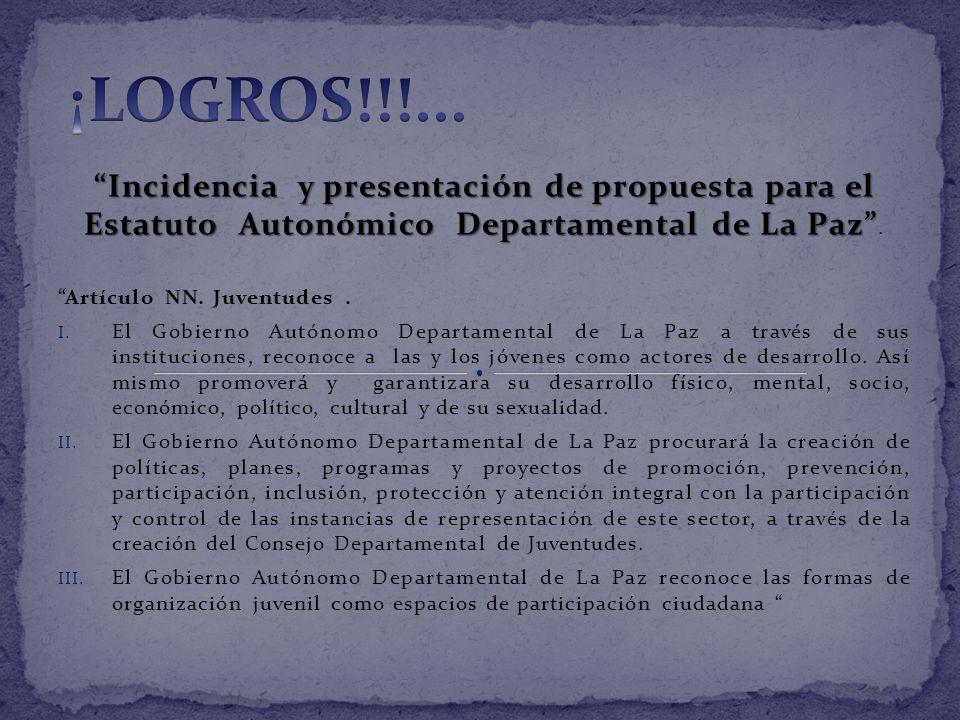 ¡LOGROS!!!... Incidencia y presentación de propuesta para el Estatuto Autonómico Departamental de La Paz .