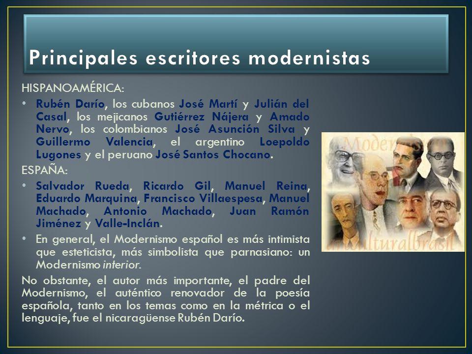 Principales escritores modernistas