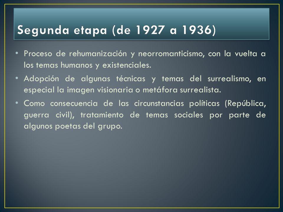 Segunda etapa (de 1927 a 1936) Proceso de rehumanización y neorromanticismo, con la vuelta a los temas humanos y existenciales.