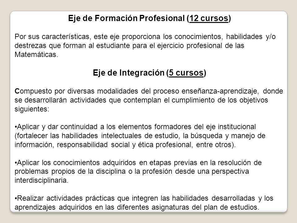 Eje de Formación Profesional (12 cursos) Eje de Integración (5 cursos)