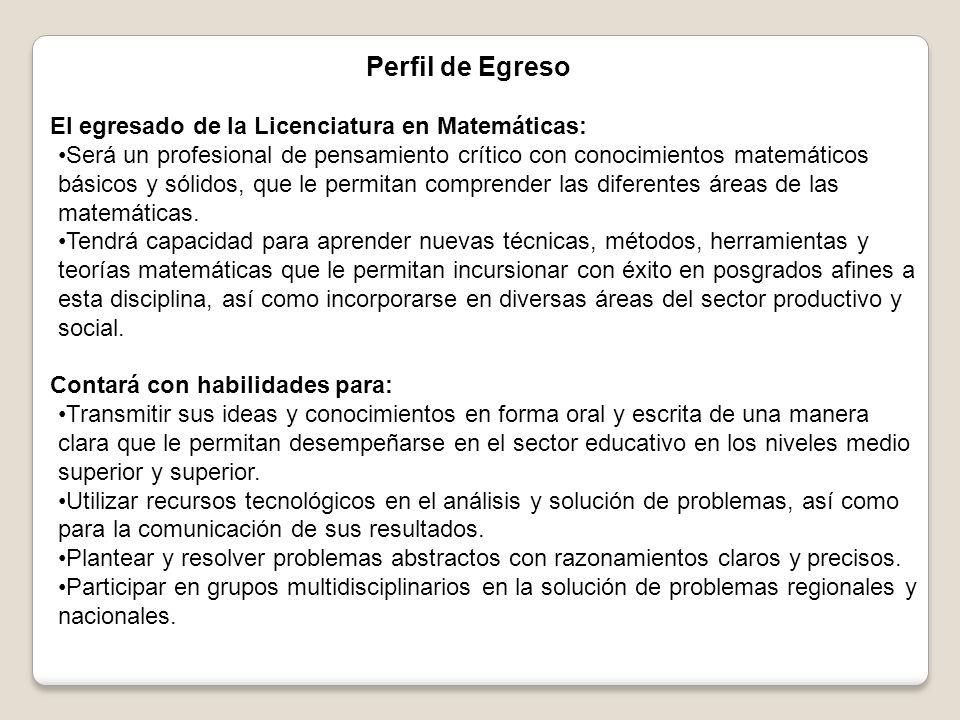 Perfil de Egreso El egresado de la Licenciatura en Matemáticas: