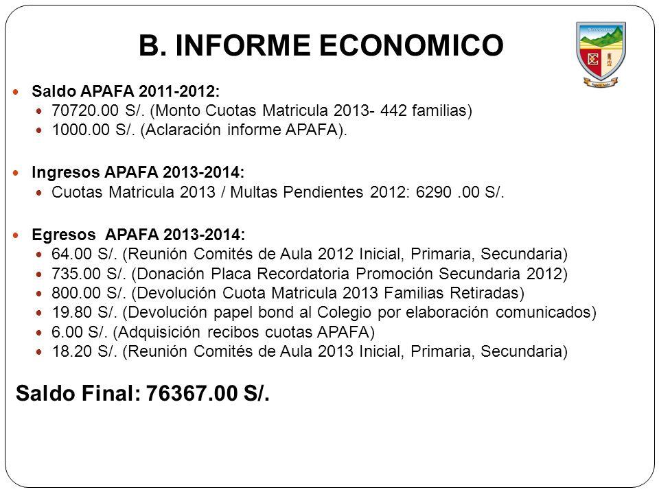 B. INFORME ECONOMICO Saldo Final: 76367.00 S/. Saldo APAFA 2011-2012: