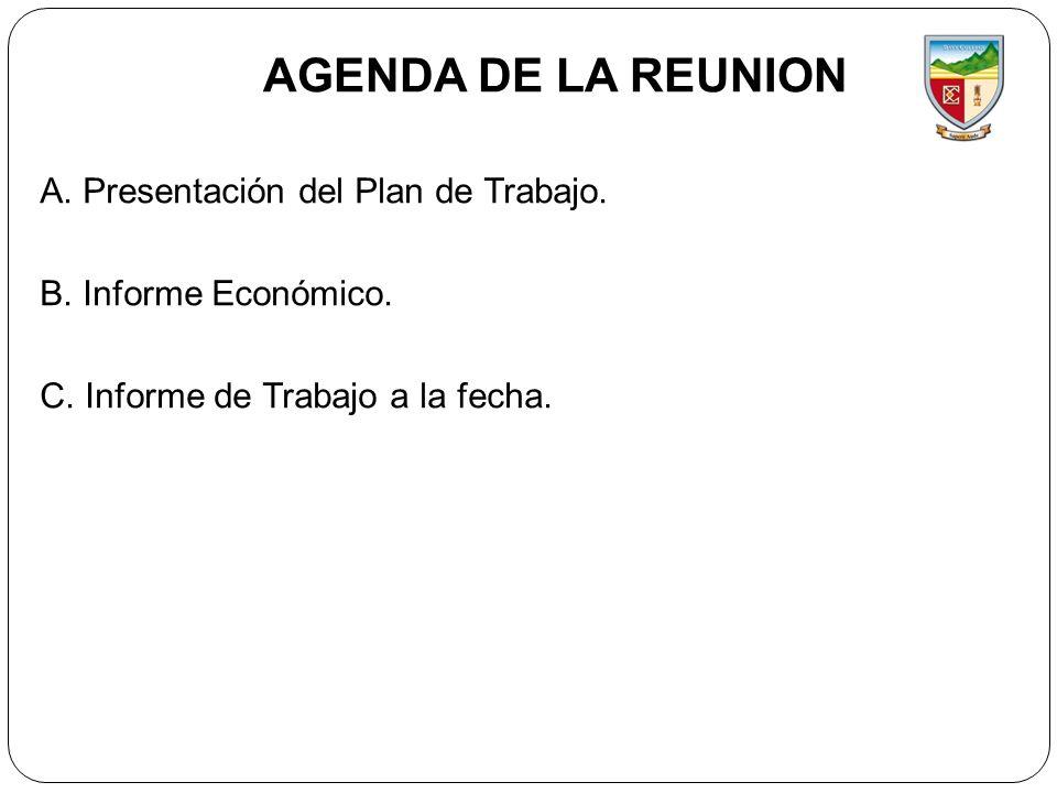 AGENDA DE LA REUNION A. Presentación del Plan de Trabajo.