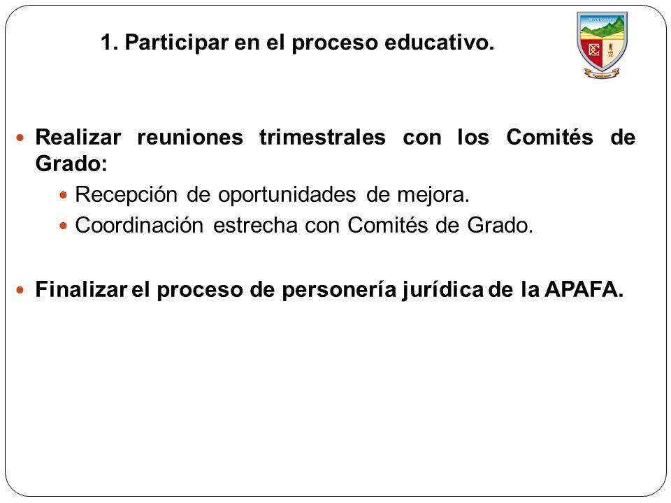 1. Participar en el proceso educativo.