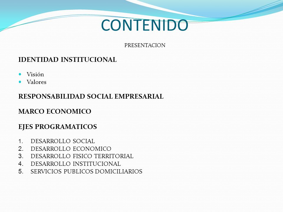 CONTENIDO IDENTIDAD INSTITUCIONAL RESPONSABILIDAD SOCIAL EMPRESARIAL